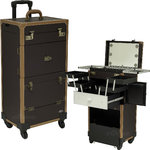 Brown Ancient Copper Hardware 4-Wheels Leatherette Professional Cool Led Light Rolling Studio Makeup Case With Expandable Trays Drawers And Mirror (C6233PVBR)