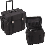 All Black Soft-Sided Nylon Professional Rolling Hairstylist Case With Hair Drywer Flat & Curly Iron Holder (C6402NLAB)