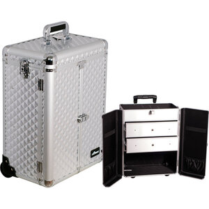 Silver Diamond Pattern Interchangeable Professional Rolling Aluminum Cosmetic Makeup Case French Door Opening With Large Drawers (E6306DMSL)