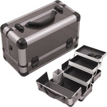 Gun Metal Smooth Pattern 3-Tiers Extendable Trays Professional Cosmetic Makeup Train Case With Brush Holder (HK3101ASBY)