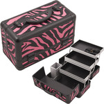 Zebra Hot Pink Printing Texture 3-Tiers Extendable Trays Professional Cosmetic Makeup Train Case With Brush Holder (HK3101ZBPB)