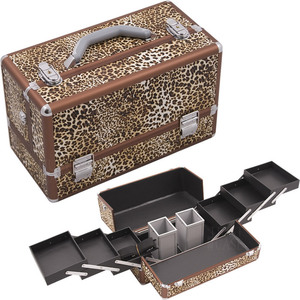 Leopard Printing Texture 3-Tiers Accordion Trays Professional Cosmetic Makeup Train Case With Two Brush Holder (HK3201LPBR)