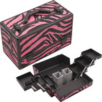 Zebra Hot Pink Printing Texture 3-Tiers Accordion Trays Professional Cosmetic Makeup Train Case With Two Brush Holder (HK3201ZBPB)