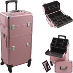 Pink Smooth Pattern 4-Wheels Professional Rolling Aluminum Cosmetic Makeup Case And Easy-Slide & Extendable Trays With Dividers (HK6501PPPK)