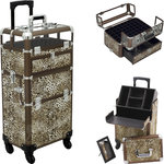 Leopard Printing Texture 4-Wheels Professional Rolling Aluminum Cosmetic Makeup Nail Artist Case Foundation Holder With Clear Panel And Removable Tray With Dividers (HK6502LPBR)