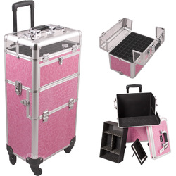 Pink Crocodile Printing Texture 4-Wheels Professional Rolling Aluminum Cosmetic Makeup Case And Nail Case With Clear Panel Foundation Holder & Dividers (I31061CRPK)