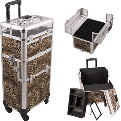 Leopard Printing Texture 4-Wheels Professional Rolling Aluminum Cosmetic Makeup Case And Nail Case With Clear Panel Foundation Holder & Dividers (I31061LPBR)