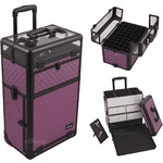 Purple Diamond Pattern Professional Rolling Aluminum Cosmetic Makeup Case With Split Drawers And Nail Case With Clear Panel Foundation Holder & Dividers (I31062DMPLB)