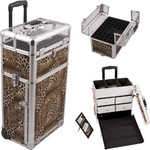 Leopard Printing Texture Professional Rolling Aluminum Cosmetic Makeup Case With Split Drawers And Nail Case With Clear Panel Foundation Holder & Dividers (I31062LPBR)