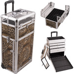 Leopard Printing Texture Professional Rolling Aluminum Cosmetic Makeup Case With Large Drawers And Nail Case With Clear Panel Foundation Holder & Dividers (I31063LPBR)