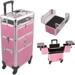 Pink Crocodile Printing Texture 3-Tiers Accordion Trays 4-Wheels Professional Rolling Aluminum Cosmetic Makeup Case And Nail Case With Clear Panel Foundation Holder & Dividers (I31064CRPK)