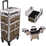 Leopard Printing Texture 3-Tiers Accordion Trays 4-Wheels Professional Rolling Aluminum Cosmetic Makeup Case And Nail Case With Clear Panel Foundation Holder & Dividers (I31064LPBR)