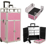 Pink Crocodile Printing Texture Professional Rolling Aluminum Cosmetic Makeup Case French Door Style With Split Drawers And Nail Case With Clear Panel Foundation Holder & Dividers (I31065CRPK)