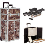 Leopard Printing Texture Professional Rolling Aluminum Cosmetic Makeup Case French Door Style With Split Drawers And Easy-Slide Trays (I3165LPBR)