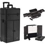Black Diamond Professional Rolling Aluminum Cosmetic Makeup Case French Door Style With Large Drawers And Easy-Slide Trays (I3166DMAB)