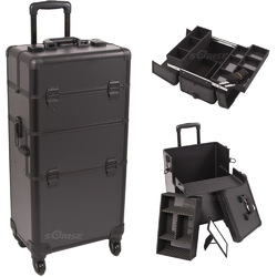 Black Smooth 4-Wheel Professional Rolling Aluminum Cosmetic Makeup Case And Easy-Slide & Extendable Trays With Dividers (I3261PPAB)