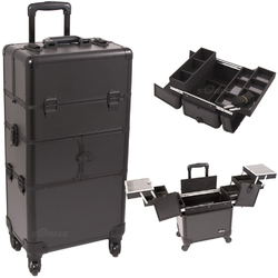 Black Smooth Pattern 3-Tiers Accordion Trays 4-Wheels Professional Rolling Aluminum Cosmetic Makeup Case And Easy-Slide Trays And Extendable Trays With Dividers (I3264PPAB)