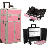 Pink Crocodile Printing Texture Professional Rolling Aluminum Cosmetic Makeup Case French Door Opening With Split Drawers And Easy-Slide And Extendable Trays With Dividers (I3265CRPK)