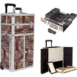 Leopard Printing Texture Professional Rolling Aluminum Cosmetic Makeup Case French Door Opening With Split Drawers And Easy-Slide And Extendable Trays With Dividers (I3265LPBR)
