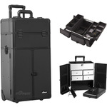 Black Smooth Professional Rolling Aluminum Cosmetic Makeup Case French Door Opening With Split Drawers And Easy-Slide And Extendable Trays With Dividers (I3265PPAB)