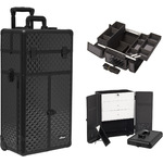Black Diamond Professional Rolling Aluminum Cosmetic Makeup Case French Door Opening With Large Drawers And Easy-Slide And Extendable Trays With Dividers (I3266DMAB)