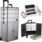 Silver Diamond Professional Rolling Aluminum Cosmetic Makeup Case French Door Opening With Split Drawers And Stackable Trays With Dividers (I3365DMSL)