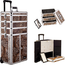 Leopard Printing Texture Professional Rolling Aluminum Cosmetic Makeup Case French Door Opening With Split Drawers And Stackable Trays With Dividers (I3365LPBR)