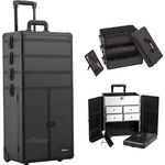 Black Smooth Professional Rolling Aluminum Cosmetic Makeup Case French Door Opening With Split Drawers And Stackable Trays With Dividers (I3365PPAB)