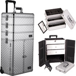 Silver Diamond Professional Rolling Aluminum Cosmetic Makeup Case French Door Opening With Large Drawers And Stackable Trays With Dividers (I3366DMSL)