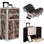 Leopard Printing Texture Professional Rolling Aluminum Cosmetic Makeup French Door Opening Case With Split Drawers And 6-Tiers Extendable Trays With Dividers (I3465LPBR)