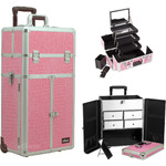 Pink Crocodile Printing Texture Professional Rolling Aluminum Cosmetic Makeup French Door Opening Case With Split Drawers Extendable Trays And Brush Holder (I3565CRPK)