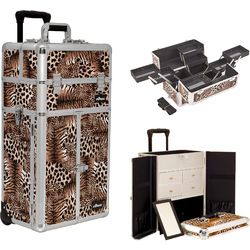 Leopard Printing Texture Professional Rolling Aluminum Cosmetic Makeup Case French Door Opening With Split Drawers And Multiple Expandable Trays (I3665LPBR)