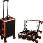 Black Dot Rose Gold Trimming Professional Rolling Makeup Studio Case With Led Lights & Mirror (C6203DTBK)
