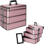 Pink Interchangeable Stackable Tray Krystal Pattern Professional Aluminum Cosmetic Makeup Case With Dividers (E3303KLPK)