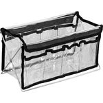 14 In. Clear Pvc Bag With 8 Pockets And Metal Stand (HK1401BK)