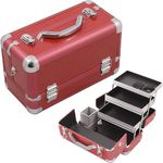 Red Crocodile Printing Texture 3-Tiers Extendable Trays Professional Cosmetic Makeup Train Case With Brush Holder (HK3101CRRD)
