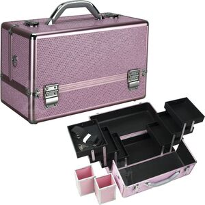 Pink Krystal Pattern 3-Tiers Accordion Trays Professional Cosmetic Makeup Train Case With Two Brush Holder (HK3201KLPK)