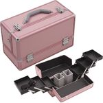 Pink Smooth Pattern 3-Tiers Accordion Trays Professional Cosmetic Makeup Train Case With Two Brush Holder (HK3201PPPK)