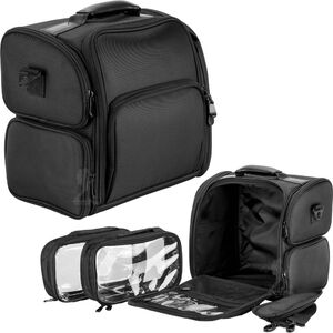 Hiker Black Soft_Sided Professional Travel Makeup Case With Removable Clear Bags (HK3603NLAB)