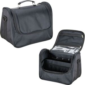 Black Soft_Sided Travel Makeup Case With Mesh And Clear Pockets (HK3605NLAB)