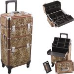 Leopard Printing Texture 4-Wheels Professional Rolling Aluminum Cosmetic Makeup Case And Easy-Slide & Extendable Trays With Dividers (HK6501LPBR)