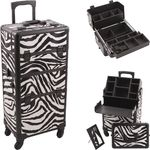 Zebra White Printing Texture 4-Wheels Professional Rolling Aluminum Cosmetic Makeup Case And Easy-Slide & Extendable Trays With Dividers (HK6501ZBWB)