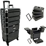 Black Krystal 3-Tiers Accordion Trays Professional Rolling Aluminum Cosmetic Makeup Case And Stackable Trays With Dividers (I3364KLAB)
