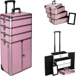 Pink Krystal Professional Rolling Aluminum Cosmetic Makeup Case French Door Opening With Large Drawers And Stackable Trays With Dividers (I3366KLPK)
