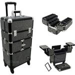 Black Krystal Pattern 3-Tiers Accordion Trays 4-Wheels Professional Rolling Aluminum Cosmetic Makeup Case And 6-Tiers Extendable Trays With Dividers (I3464KLAB)