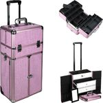Pink Krystal Professional Rolling Aluminum Cosmetic Makeup French Door Opening Case With Large Drawers And 6-Tiers Extendable Trays With Dividers (I3466KLPK)