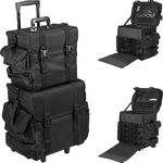 2-In-1 All Black Nylon Soft_Sided Professional Rolling Makeup Case With Drawers And Side Pockets (T5173NLAB)