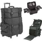2-In-1 All Black Nylon Soft_Sided Professional Rolling Makeup Case With Drawers And Side Pockets (T5273NLAB)