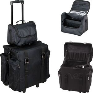 2-In-1 All Black Nylon Soft Sided Professional Rolling Makeup Hairstylist Travel Case With Drawers And Side Pockets For Curly Or Flat Iron (T5472NLAB)