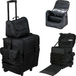 2-In-1 All Black Nylon Soft Sided Professional Rolling Makeup Travel Case With Drawers And Side Pockets (T5473NLAB)